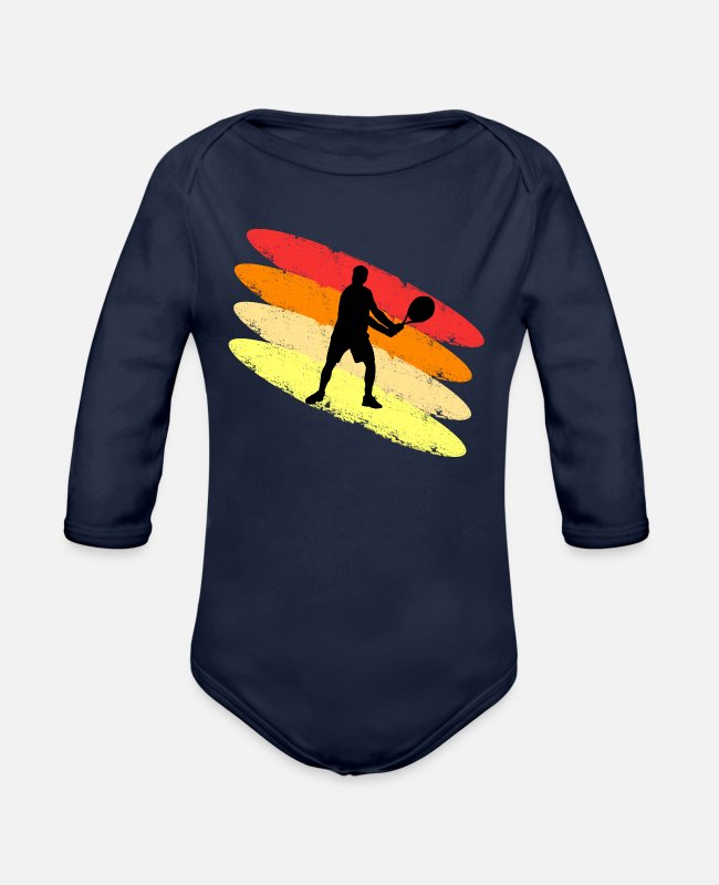Tennis Baby One Pieces - Cool Tennis colored - Organic Long-Sleeved Baby Bodysuit dark navy