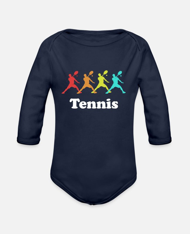 Tennis Baby One Pieces - Cool tennis logo - Organic Long-Sleeved Baby Bodysuit dark navy