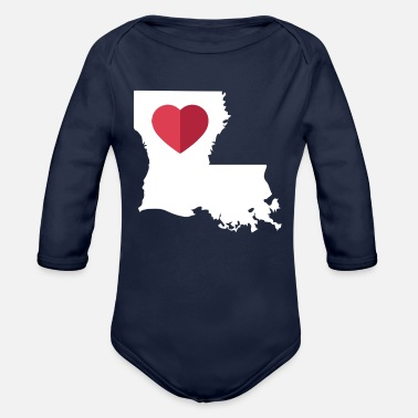 I Love Louisiana Funny LA State Pride Heart Gift - Organic Long-Sleeved Baby Bodysuit