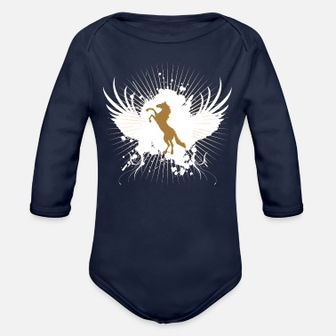 Horse horse, riding, horses - Organic Long-Sleeved Baby Bodysuit