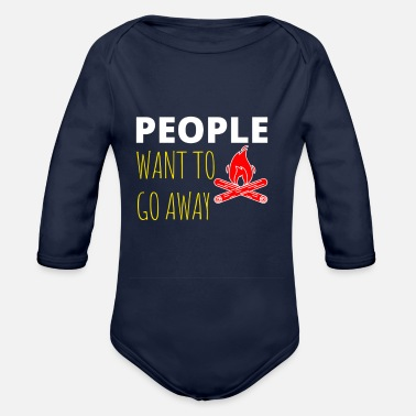 Adventure Awaits camping in the woods - Organic Long-Sleeved Baby Bodysuit