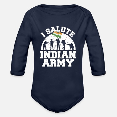 Border Security Force I Salute Indian Army Patriotic Indian - Organic Long-Sleeved Baby Bodysuit