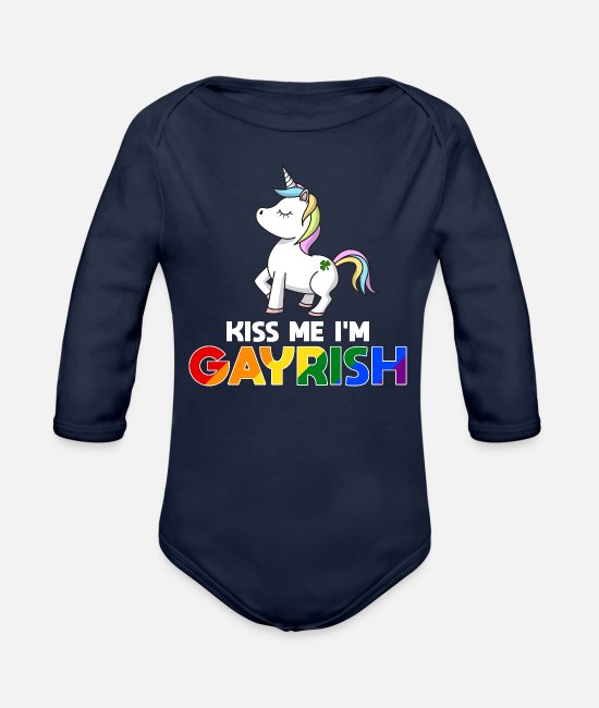 Queer Flag Baby One Pieces - Kiss Me I'm Gayrish LGBT Unicorn Gift - Organic Long-Sleeved Baby Bodysuit dark navy