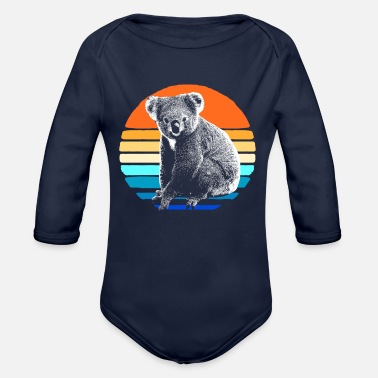 Hipster Koala Bear Australia Marsupial Hipster Backpacking - Organic Long-Sleeved Baby Bodysuit