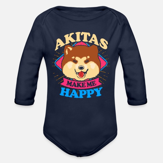 Cute Baby Clothing - Akita Dog Trainer Dogowner Japan Pet Loyalty Breed - Organic Long-Sleeved Baby Bodysuit dark navy