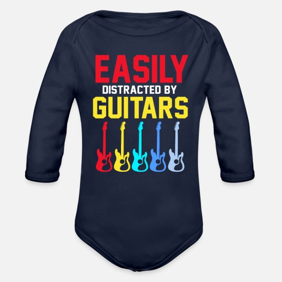 Guitar Baby Clothing - Guitar - Organic Long-Sleeved Baby Bodysuit dark navy