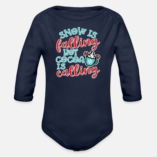 Mom Baby Clothing - Snow Is Falling Hot Cocoa Is Calling Christmas - Organic Long-Sleeved Baby Bodysuit dark navy