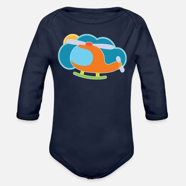 Cute Helicopter Helicopter Cute Future Pilot - Organic Long-Sleeved Baby Bodysuit