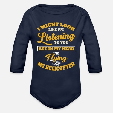 Helicopter Saying - Organic Long-Sleeved Baby Bodysuit