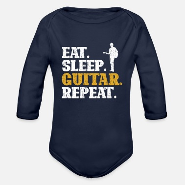 Esp Guitars Guitar Eat Sleep Repeat - Organic Long-Sleeved Baby Bodysuit