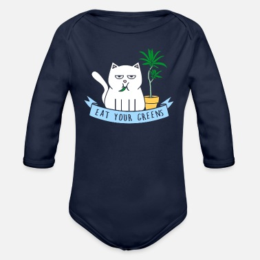 Eat Your Greens white cat - Organic Long-Sleeved Baby Bodysuit