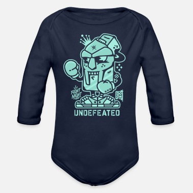 Undefeated Undefeated fight night - Organic Long Sleeve Baby Bodysuit