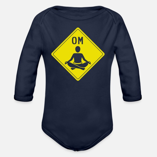 Language Baby Clothing - Om Sign - Organic Long-Sleeved Baby Bodysuit dark navy