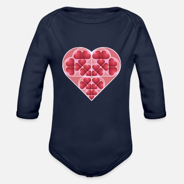 heart shapes valentine's day gift girlfriend - Organic Long-Sleeved Baby Bodysuit