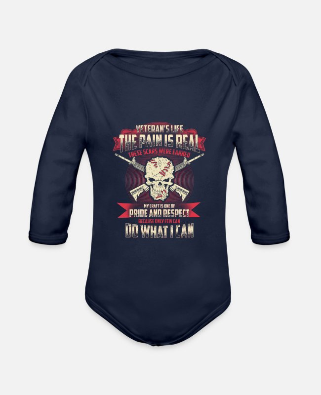 Army Baby One Pieces - Veteran - My craft is one of pride and respect - Organic Long-Sleeved Baby Bodysuit dark navy