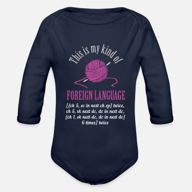 Foreign Language Knitting Foreign Language - Organic Long-Sleeved Baby Bodysuit