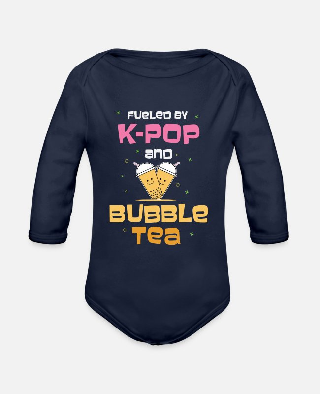 Pearl Baby One Pieces - Fueled By K-Pop And Bubble Tea - Organic Long-Sleeved Baby Bodysuit dark navy