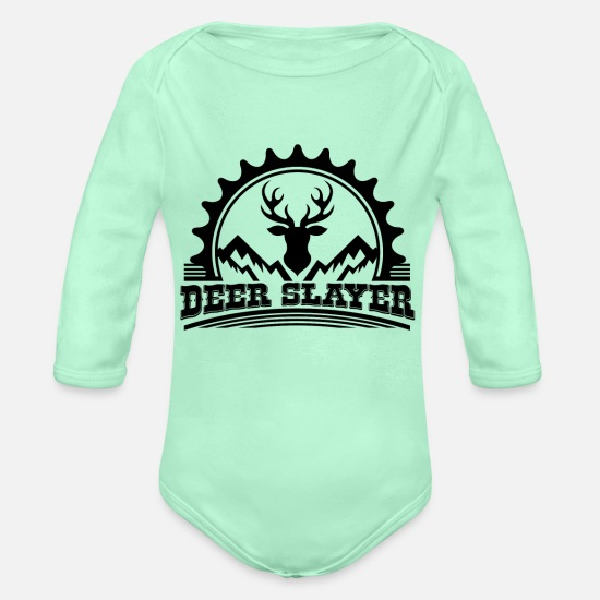 Stag Baby Clothing - Deer Killer Hunting Lovers | Deer Hunter - Organic Long-Sleeved Baby Bodysuit light mint