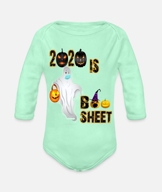 2020 Boo Sheet Baby One Pieces - 2020 Boo Sheet-Ghost in Mask-Halloween Costume - Organic Long-Sleeved Baby Bodysuit light mint