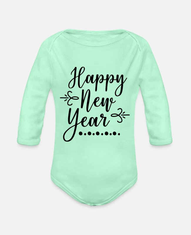 Happy Holidays Baby One Pieces - Happy New Year - Organic Long-Sleeved Baby Bodysuit light mint