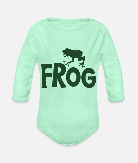 Water Baby One Pieces - frog typo with cute little froggy - Organic Long-Sleeved Baby Bodysuit light mint