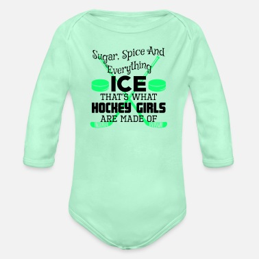 Ice Ice Hockey Girl Sugar Spice Everything Ice Hockey - Organic Long-Sleeved Baby Bodysuit