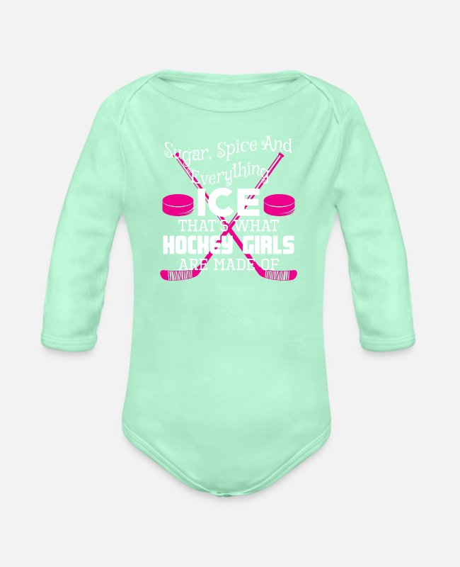Hockey Team Baby One Pieces - Ice Hockey Girls Sugar Spice Everything Ice - Organic Long-Sleeved Baby Bodysuit light mint