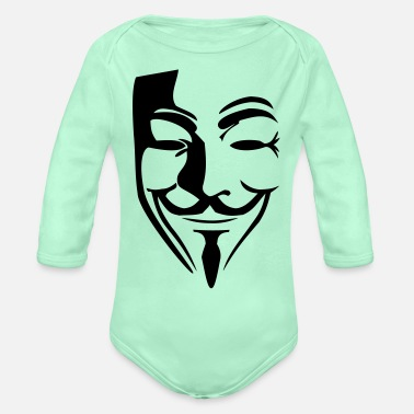 Guy Fawkes Guy Fawkes mask - Organic Long-Sleeved Baby Bodysuit