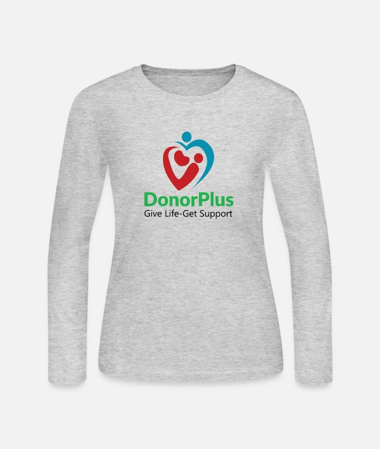 Donorplus Long-Sleeved Shirts - DonorPlus - supporting living kidney donors - Women's Jersey Longsleeve Shirt gray