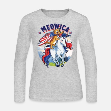 28fee6c78 Meowica Cat Unicorn 4th of July T shirt Kids Girls Merica - Women'.  Women's Jersey Longsleeve Shirt
