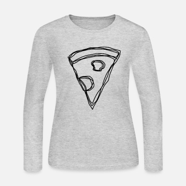 Pizzeria pizza happy black fast food greesy cheese salami - Women's Jersey Longsleeve Shirt