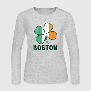 Boston w/Irish Flag - Women's Long Sleeve Jersey T-Shirt
