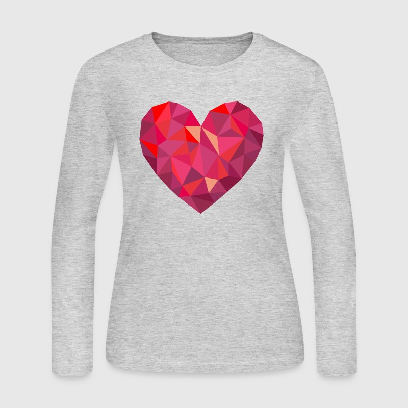 Valentine's Day Geometric Low Poly Heart - Women's Long Sleeve Jersey T-Shirt