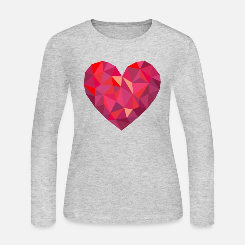 Birthday Long sleeve shirts - Valentine's Day Geometric Low Poly Heart - Women's Jersey Longsleeve Shirt gray