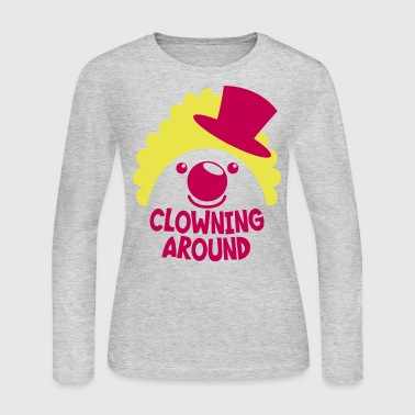 clowning around CLOWN FACE IN A TOP HAT - Women's Long Sleeve Jersey T-Shirt