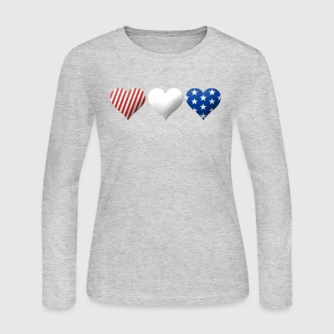 Red, White & Blue Hearts - Women's Long Sleeve Jersey T-Shirt