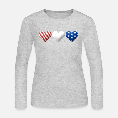 Red White And Blue Red, White & Blue Hearts - Women's Long Sleeve Jersey T-Shirt