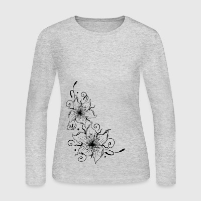 Large lilies with floral element. Summer time. - Women's Long Sleeve Jersey T-Shirt