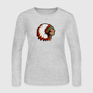 indian_with_plumage_head_cover - Women's Long Sleeve Jersey T-Shirt