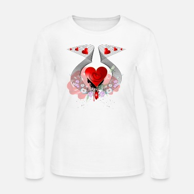 Red Dragon Wonderful heart with dragon and roses - Women's Long Sleeve Jersey T-Shirt