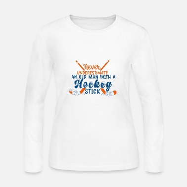 Dodge Never Underestimate An Old Man With A Hockey Stick - Women's Jersey Longsleeve Shirt