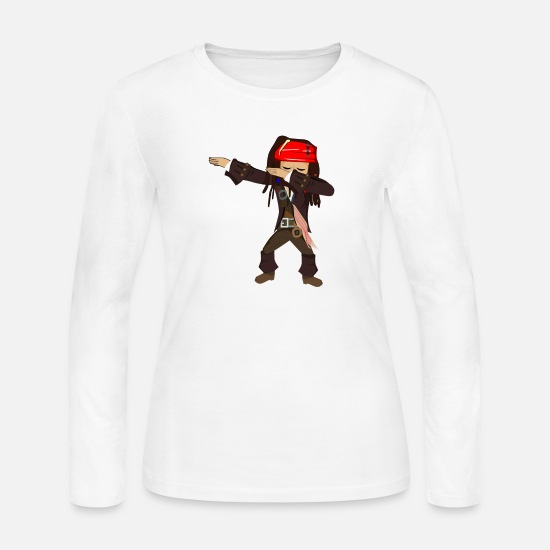Caribbean Long-Sleeve Shirts - Dabbing Pirate - Women's Jersey Longsleeve Shirt white