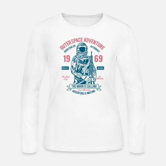 Birthday Long-Sleeve Shirts - Outerspace Adventure Born to be an Astronaut Shirt - Women's Jersey Longsleeve Shirt white