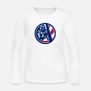 American Icon American Lineworker USA Flag Icon - Women's Long Sleeve Jersey T-Shirt