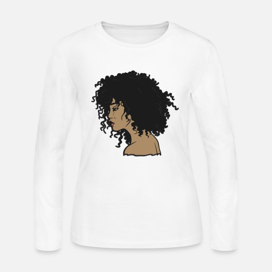 Hair Long-Sleeve Shirts - My Afro - Natural Hair - Afrocentric Gift - Women's Jersey Longsleeve Shirt white