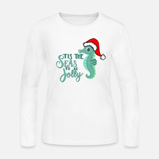 Christmas Long-Sleeve Shirts - CHRISTMAS AT THE BEACH design FLAMINGO SANTA - Women's Jersey Longsleeve Shirt white