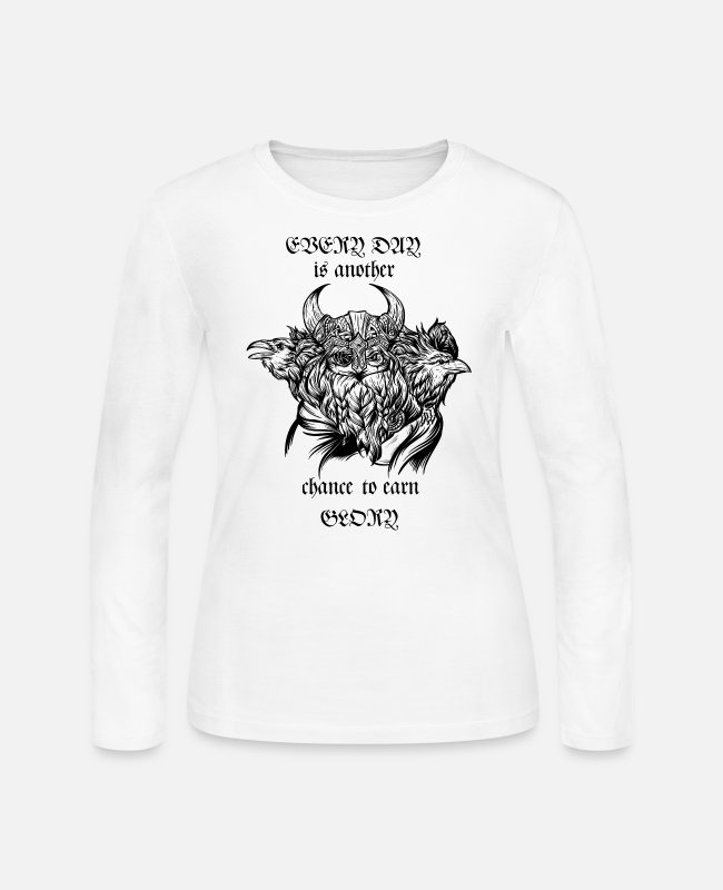 Odin's Raven Long-Sleeved Shirts - Odin and his ravens - Women's Jersey Longsleeve Shirt white