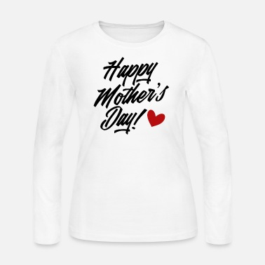 Simple and Elegant Happy Mother's Day Calligraphy - Women's Jersey Longsleeve Shirt