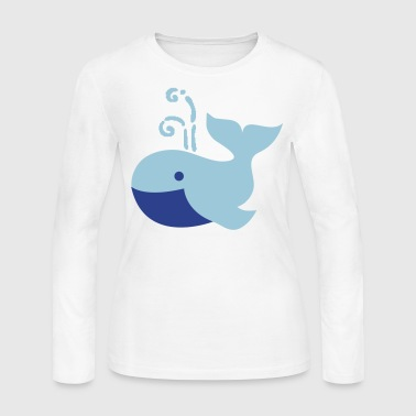 cute plump whale vintage whimsical - Women's Long Sleeve Jersey T-Shirt