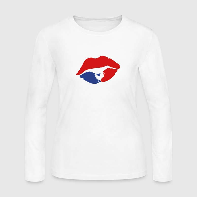 mouth lip kiss french cock - Women's Long Sleeve Jersey T-Shirt